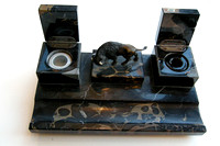 Art-Deco-Bronze-Bison-Marble-Inkwell-Set-I